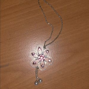 🎁pink diamond flower necklace